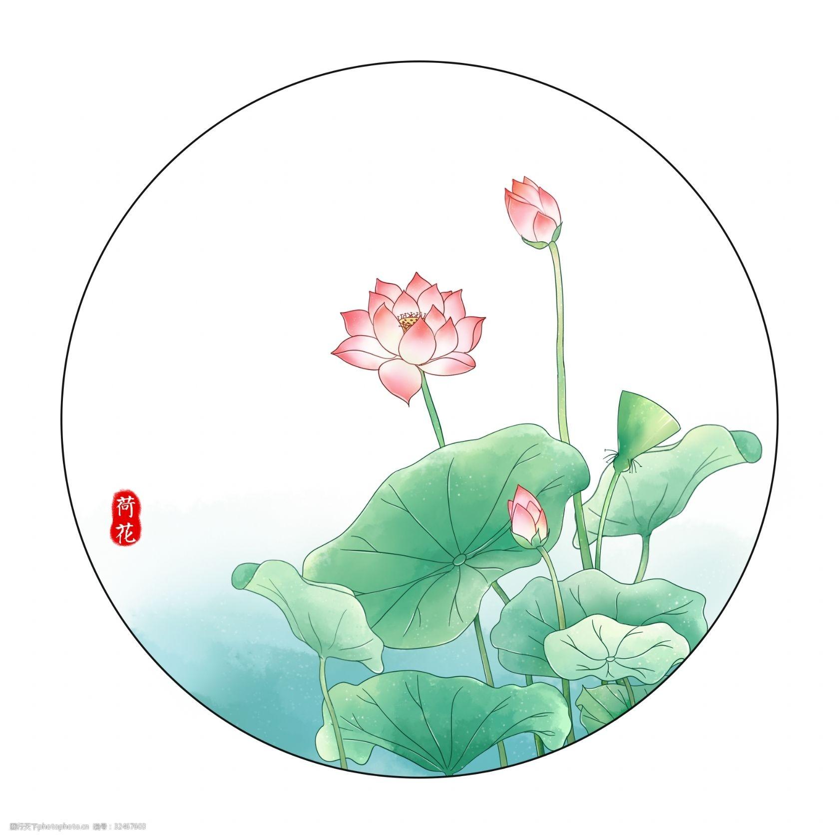 荷花 荷葉 手繪荷花 唯美荷花 水彩植物 荷塘月色 中國風 古風荷花