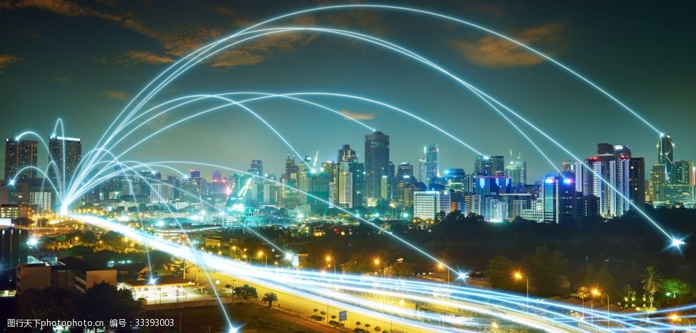 現代城市夜空廣告設計背景